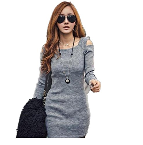 Dress,Morecome Women Long Sleeve Knit Knitwear Short Mini Dress (M, Gray)