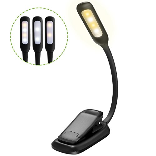 Thuctek 3-in-1 modes( White & Warm LEDs) Rechargeable LED Book Lights, Flexible Easy Clip On Lamp with Good Eye Protection Brightness and Bulit in Battery for Kindle, Reading in Bed, Car - (1 Lamp Mini)