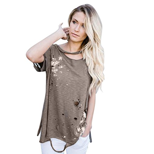 Price comparison product image Clearance! Women T-Shirt, TurningPo Casual Loose Print Hole Short Sleeve T Shirt (M,  Coffee)