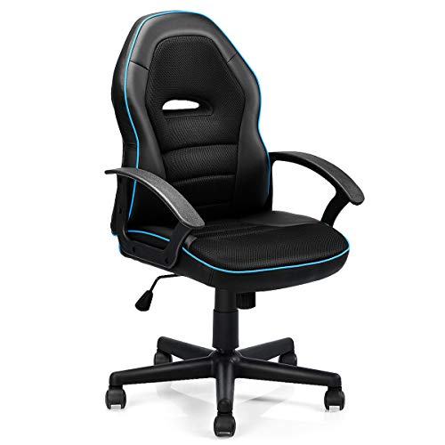 Mid-Back Office Chair Racing Chair Swivel Desk Task Computer Home Black and Blue Gaming Chair Caraya