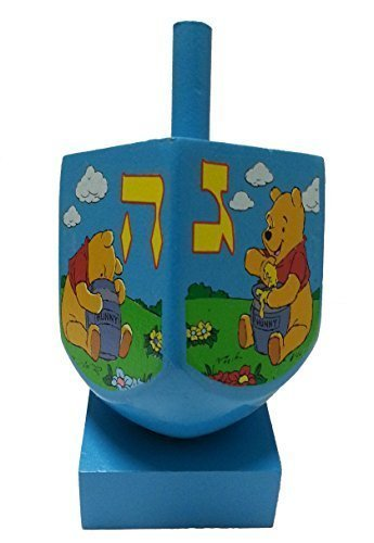 Wooden Hanukah Dreidel with Stand and Pictures of Winnie the Pooh and Freinds - Collectible and Great Gift