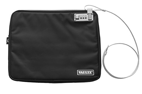 Vaultz Locking Field Gear Pouch with Tether, Extra Large, 12 x 18 Inches, Black (VZ00741)