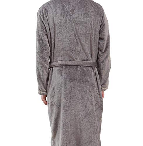 Abito Lungo Sauna Accappatoio Confortevole Flanella speciale Men Winter Homewear Warm Spessa Grigio Coat notte Stile da Camicia qfwvA