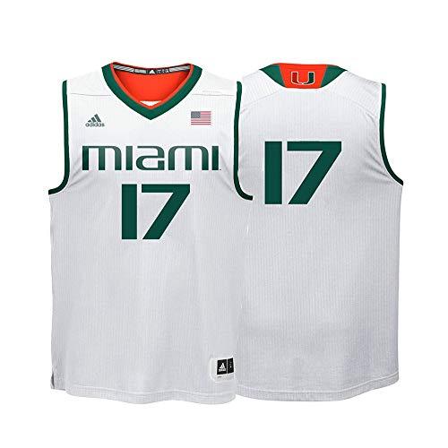 (adidas Miami Hurricanes NCAA 17 White Replica Basketball Jersey (2XL))