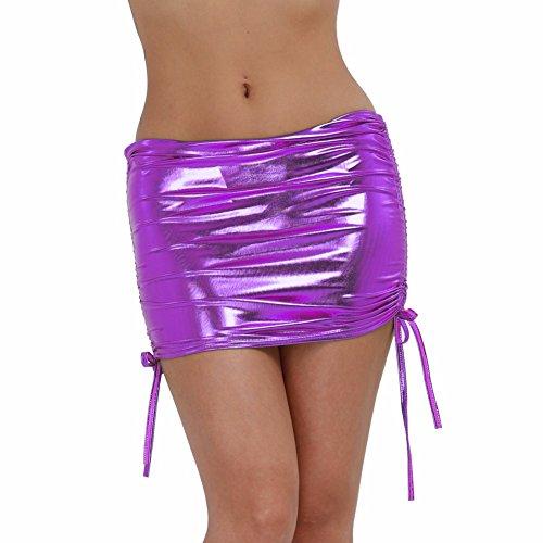 Freebily Femmes Mini Jupe Moulante en Cuir Brillant Fluo avec G-string  l'intrieur Lingerie Hip-up Jupe de Danse Nuit Clubwear Plaisir Violet