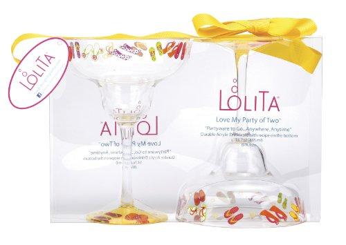 C.R. Gibson Lolita Acrylic Margarita Drinkware, Flip Flops, Set of (Acrylic Margarita Glasses)