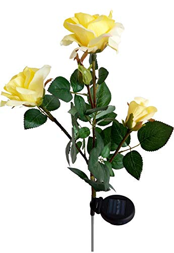 FullHappy Solar Powered LED Rose Flower Lights Garden Outdoor Decorative Landscape Lighting Artificial Rose Lamp for Patio Lawn Path, Color Yellow