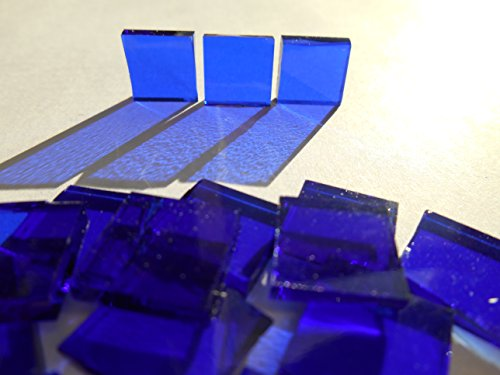 FortySevenGems 100 Pieces Stained Glass Mosaic Tiles 1/2-Inch Sapphire Blue Glass