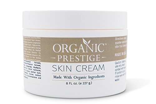 Luxury Organic Dry Skin Repair CREAM & Natural Facial Moisturizer (8 oz) Rosacea, Eczema, Psoriasis, Rashes, Redness, Aloe Vera, Vegan, Gluten Free, Face and Body, Smooth Legs by Organic ()