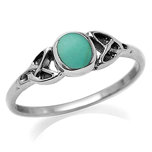 Silvershake Petite Created Green Turquoise Inlay 925 Sterling Silver Celtic Knot Ring Size 4