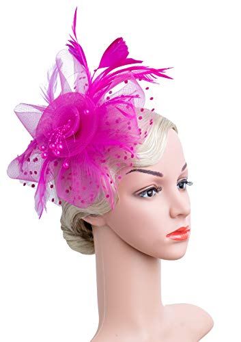 Flower Cocktail Tea Party Headwear Feather Fascinators Top Hat for Girls and Women (Fushia)