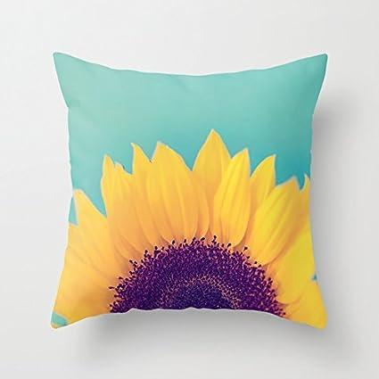 Amazon Beautiful Sunflower Pattern Polyester Throw Pillow Amazing Sunflower Decorative Pillows