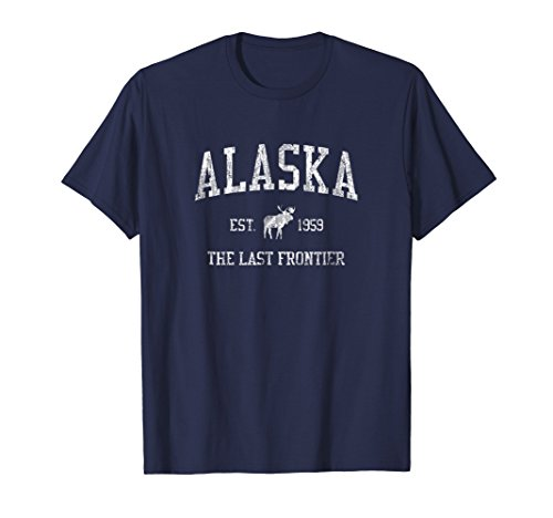 Alaska T-Shirt Vintage Sports Design Alaskan Moose Tee