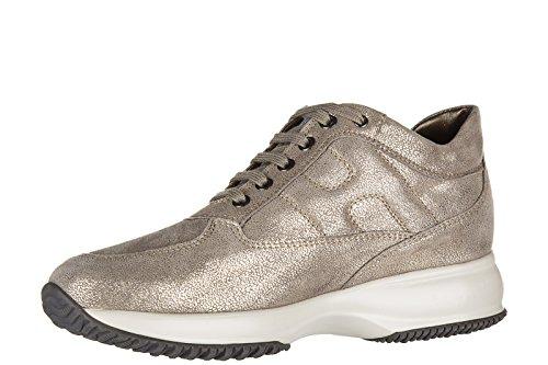 Hogan chaussures baskets sneakers femme en cuir interactive allacciata or