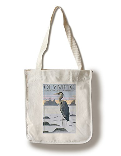 (Lantern Press Olympic National Park - Heron and Fog Shoreline (100% Cotton Tote Bag - Reusable))