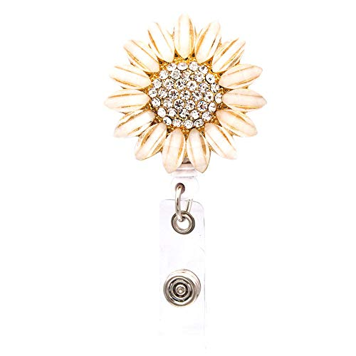 (Ascrafter Luxury Flower Retractable Name Card Badge Holder with Alligator Clip, ID Badge Reel Clip On Card Holders)