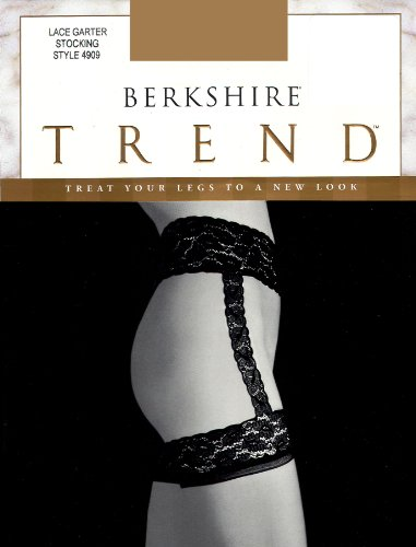 Berkshire Women's Lace Garter with Stockings 4909, Black, (Lace Nylon Garter)