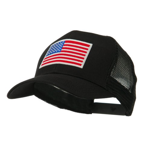 6 Panel Mesh American Flag White Patch Cap - Black