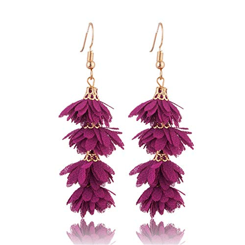 Design Fashion Fabric Flower Drop Earrings For Women Statement Colorful Petal Circle Round Big Fancy Earring Jewelry E020656b