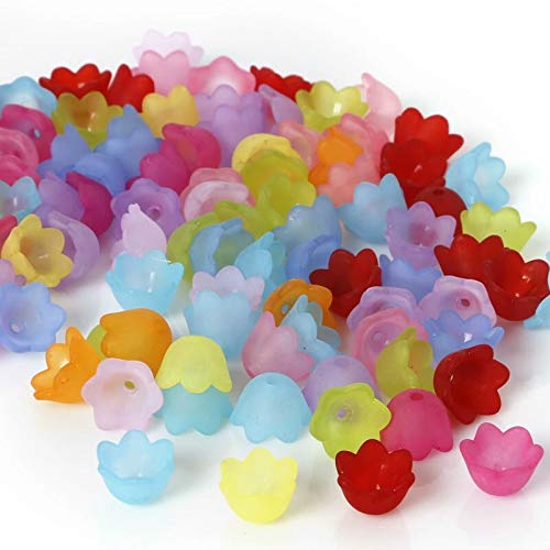 Multicolor Assorted Frosted Acrylic Lucite Tulip Flower Beads For Jewelry Making (10mm) ()