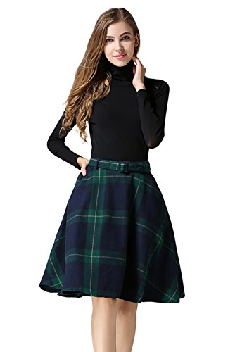 (Tanming Women's High Waisted Wool Check Print Plaid Aline Skirt (Small, Green))