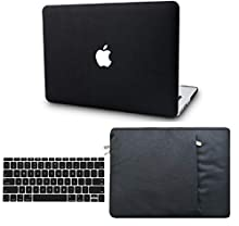"""KECC Laptop Case for MacBook Air 13"""" Retina (2020, Touch ID) w/Keyboard Cover + Sleeve Italian Leather Case A2179 3 in 1 Bundle (Black Leather)"""