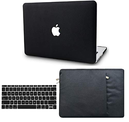 "KECC Laptop Case for Old MacBook Pro 15"" Retina (-2015) w/Keyboard Cover + Sleeve Italian Leather Case A1398 3 in 1 Bundle (Black Leather)"