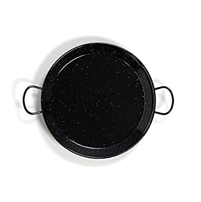 Enamelled Steel Valencian paella pan. 17Inch / 42cm / 10 Servings