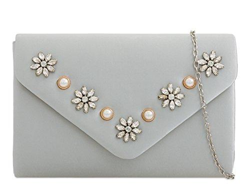 Clutch Bag Silver Floral Women's Handbags Wedding 2279 mate's Bridal LeahWard Bridal aEvwxfwW
