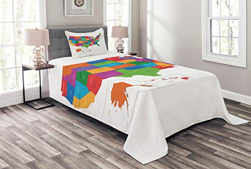 Ambesonne Wanderlust Bedspread, Colorful USA Map with States