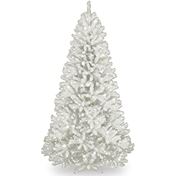 National Tree 7 Foot North Valley White Spruce Tree With Glitter And 550  Clear Lights,