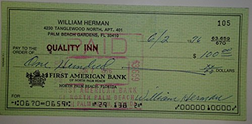 William Billy Herman Hand Signed Autographed Personal Check #105