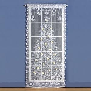 Amazon Com Christmas Tree Lighted Lace Curtain Panel