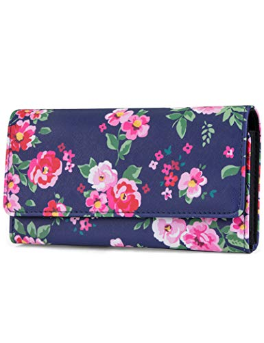 Mundi File Master Womens RFID Blocking Wallet Clutch Organizer With Change Pocket (One Size, Royal Floral)