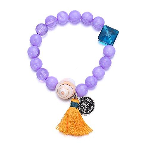 [Boho Purple Bead Elastic Stretch Charms Bracelet for Women Shell Blue Crystal Orange Tassel Coin] (Simple Halloween Costumes For High School)