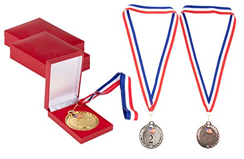 Juvale Gold Silver Bronze Medals with Red Cases - 3-Piece 1st 2nd 3rd Metal Olympic Style Winner Awards, Perfect for Sports, Competitions, Party Favors, 2.75 Inches Diameter with 16.3 Inch USA Ribbon -