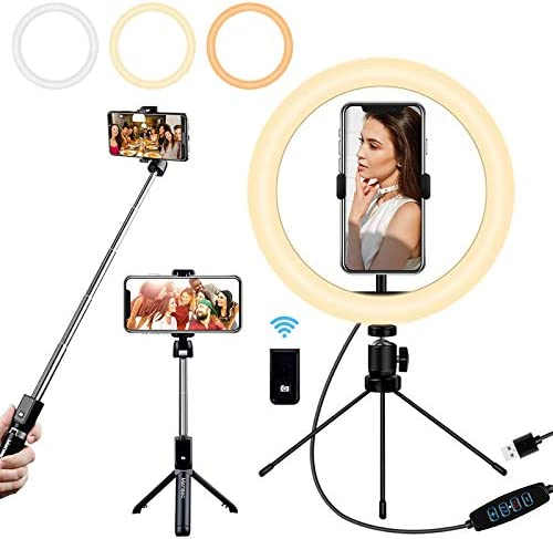 "Mansso Selfie Ring Light with Stand and Phone Holder, 10"" USB Mini Led Ring Light for iPhone and Android Phone with Portable Extendable Selfie Stick, Circle Light Lighting for Video Recording"