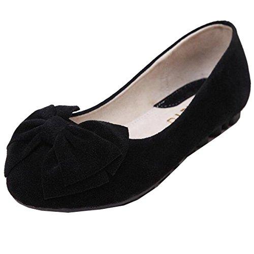 SUNAVY Damen Schmetterling Mokassins Ballerinas,2017 New Mädchen Komfortable Bow Loafers Slippers Halbschuhe Flach Fahren Schuhe(EU 34--EU 43) DarkSchwarz