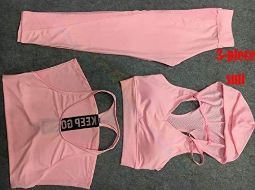 SGYHPL Sommer Frauen Gym Sport Weste Ärmelloses Hemd Fitness Laufbekleidung Tanktops Workout Yoga Unterhemden Quick Dry Tuniken L 3-Teiliger Anzug Rosa