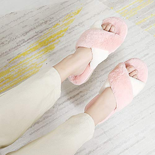 Td Female Soft color Winter Autumn Thick Hair Lovely Korean And Yellow 40 Cotton Pink Slippers Indoor Bottom Size 39 Home Version ggqrxAf