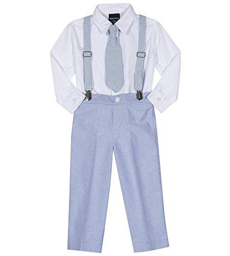 Nautica Baby Boys Set with Shirt, Pant, Suspenders, and Bow Tie, Seersucker Regatta Blue, ()