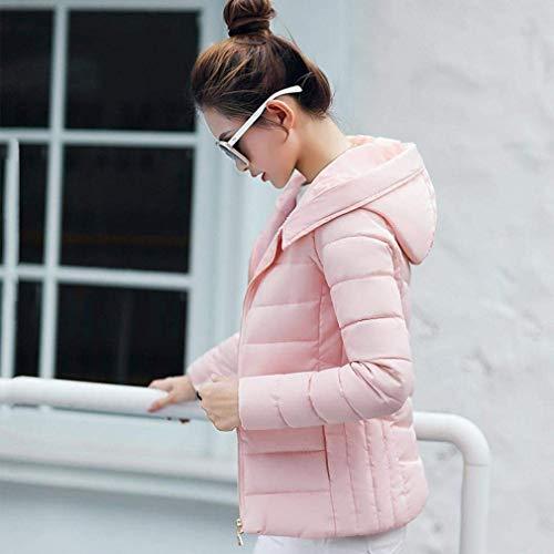 capuchon fausse élégante fermeture glissière manches longues Manteaux à à pour veste couleur matelassés fille manteaux pure rose élégants col matelassés chauds femmes fourrure zqzRWPa6