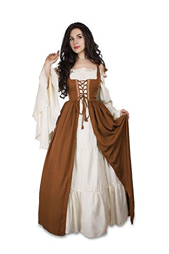 Renaissance Medieval Irish Costume Over Dress & Cream Chemise Set (S/M, ()