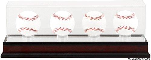 Sports Memorabilia Antique Mahogany Four Baseball Display Case - Baseball Display Cases No Logo (Display Case Four Baseball)