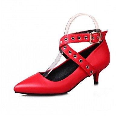 Talones de las mujeres de cuero Primavera Otoño Comfort fiesta y noche vestido casual estilete del talón de la hebilla Negro Rojo Rosa astilla Sliver
