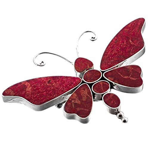 (2 3/4'' Wide RED Coral Butterfly 925 Sterling Silver Pendant Brooch YE-1559)