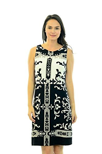 White in Morgan Printed Overlay 6 Black Dress Shift Donna Women's qY8xHwHS