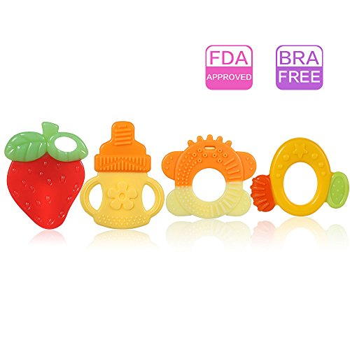 Organic Shape (Silicone Baby Teether, Different Shapes Soft Teething Toy, Helps All Stages of Teething, Multi-texture and Hands Free Design, BPA free, FDA Approved)