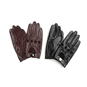 Ambesi Women's Open Back Leather Driving Gloves