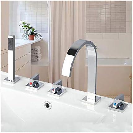クロム浴室バスタブ蛇口3ハンドル5穴真鍮バスシャワーセットデッキは、ハンドヘルドシャワーとバスタブの滝のミキサーのタップをマウント